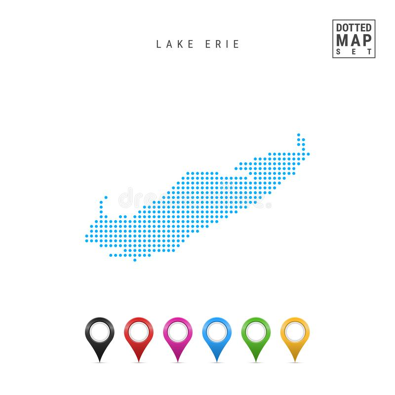 Lake Erie Dots Pattern Vector Map. Stylized Silhouette of Lake Erie. Set of Multicolored Map Markers stock illustration