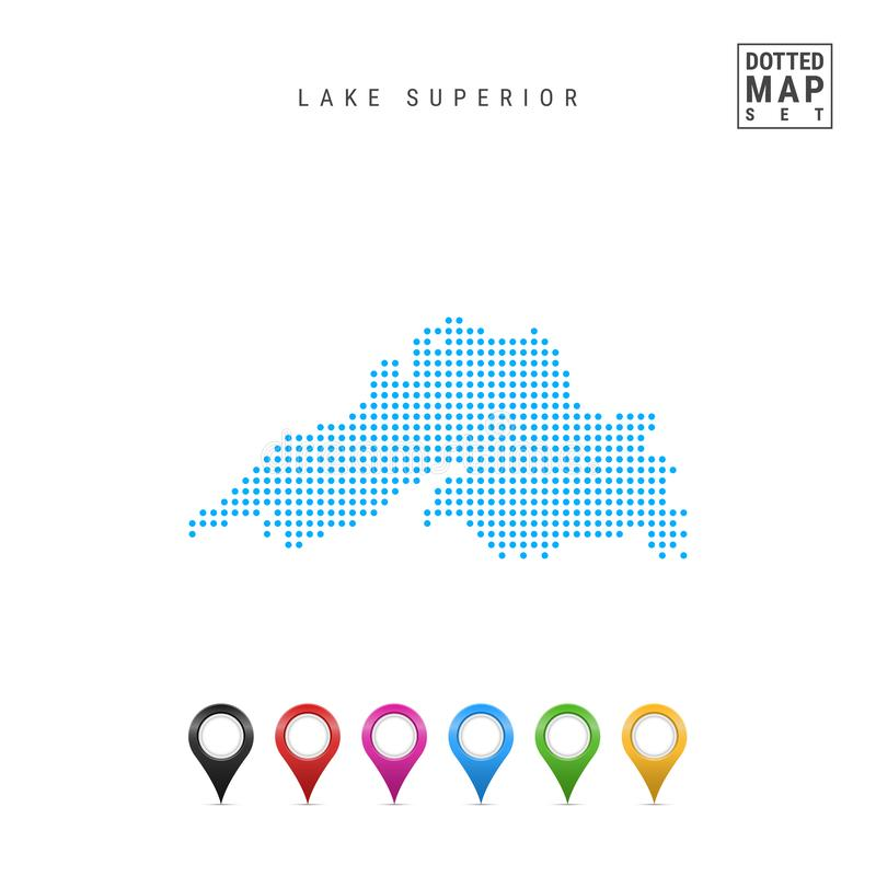 Lake Superior Dots Pattern Vector Map. Stylized Silhouette of Lake Superior. Set of Multicolored Map Markers stock illustration