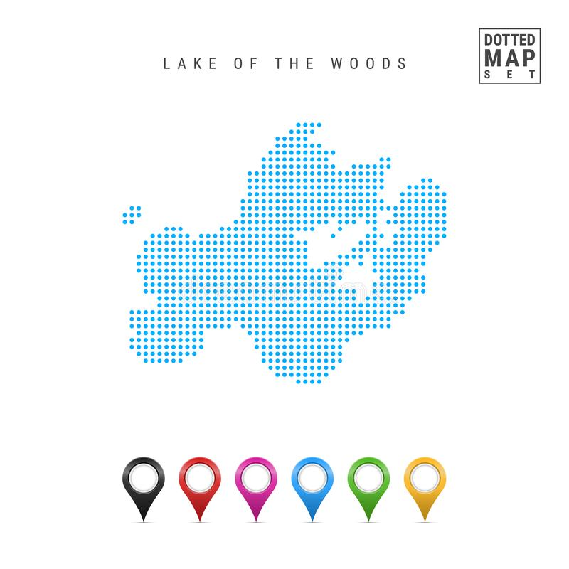 Lake of the Woods, Manitoba-Minnesota-Ontario Dots Pattern Vector Map. Stylized Silhouette. Multicolored Map Markers royalty free illustration