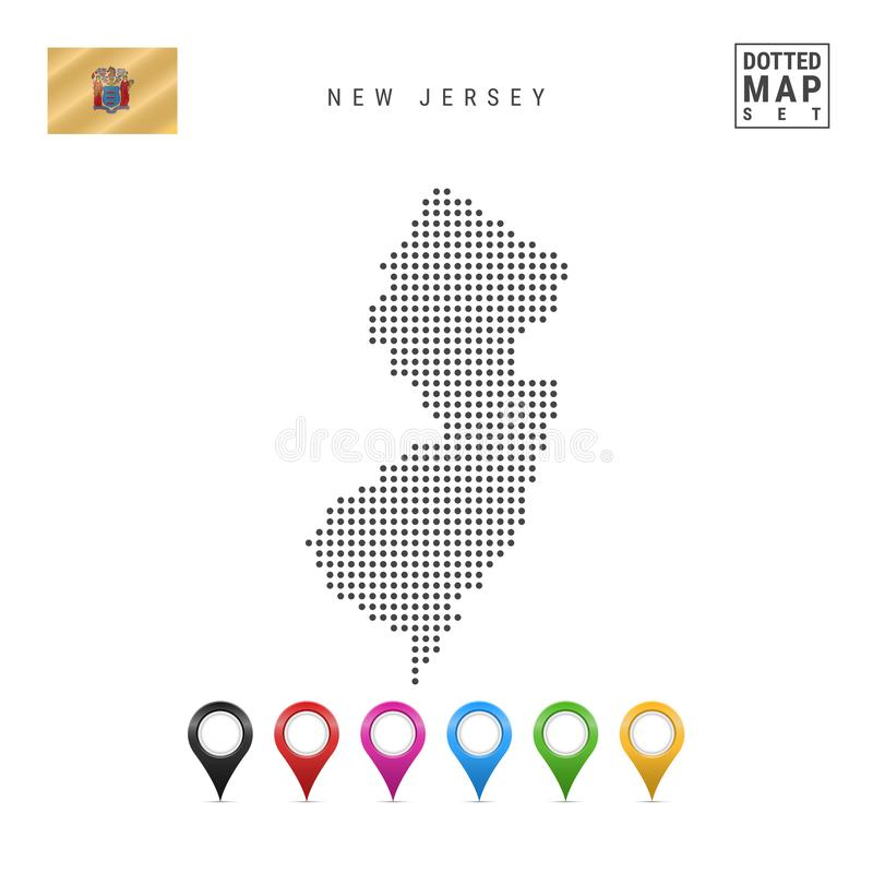Dots Pattern Vector Map of New Jersey. Stylized Silhouette of New Jersey. Flag of New Jersey. Multicolored Map Markers vector illustration
