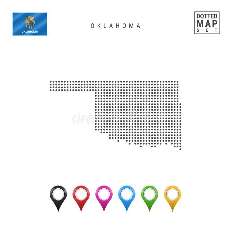 Dots Pattern Vector Map van Oklahoma Gestileerd Silhouet van Oklahoma Vlag van Oklahoma Reeks Multicolored Kaarttellers stock illustratie