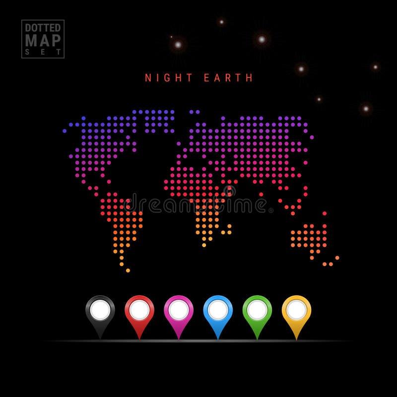 Dots Pattern Vector Map von Nachterde Stilisiertes Schattenbild der Welt Ursa Majorskonstellation Farbige Karten-Markierungen vektor abbildung