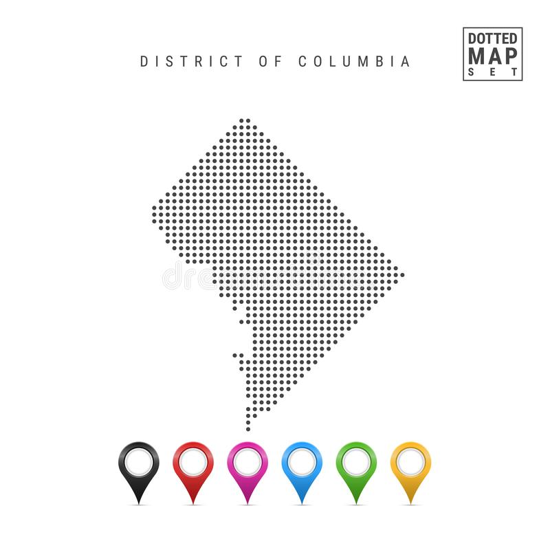 Dots Pattern Vector Map of Washington DC. Stylized Silhouette of Washington DC. Flag of Washington DC. Map Markers Set vector illustration