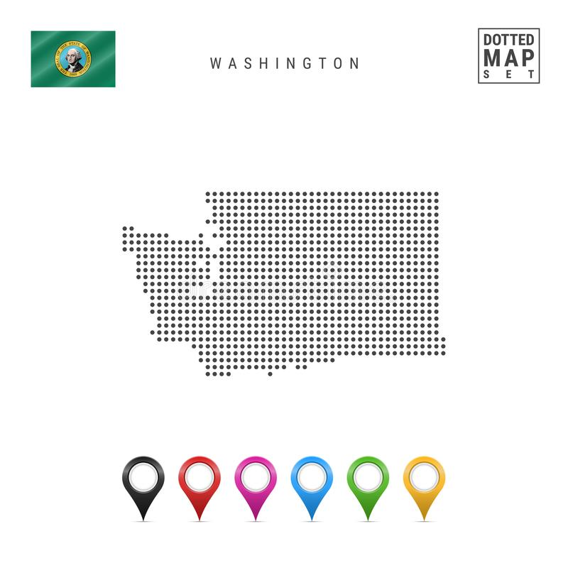 Dots Pattern Vector Map of Washington. Stylized Silhouette of Washington. Flag of Washington. Multicolored Map Markers stock illustration