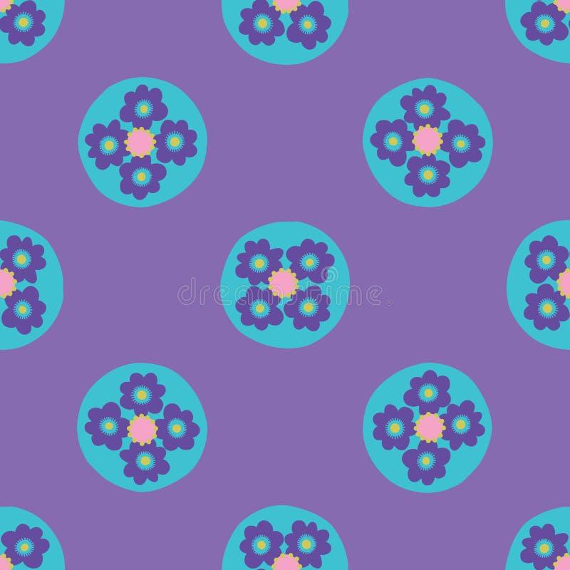 Dots Seamless Vector Pattern floral brillante, lunares exhaustos de la mano libre illustration