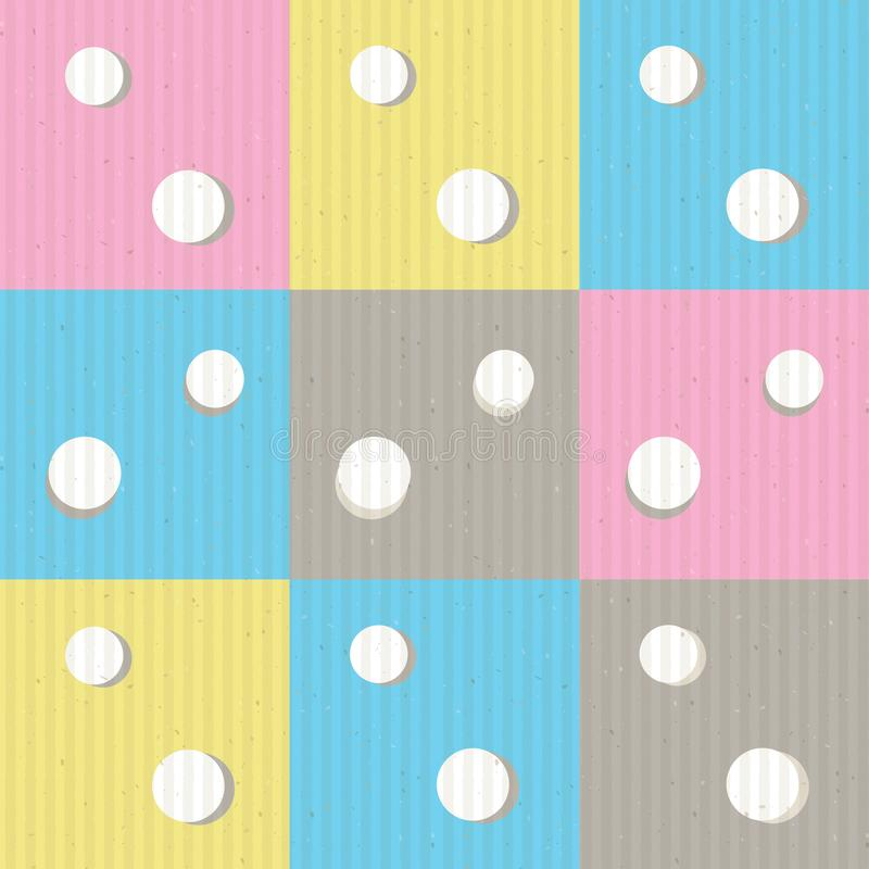 Dots and squares seamless vector pattern background design in pastel colors with kraft paper texture overlay EPS10文件 皇族释放例证