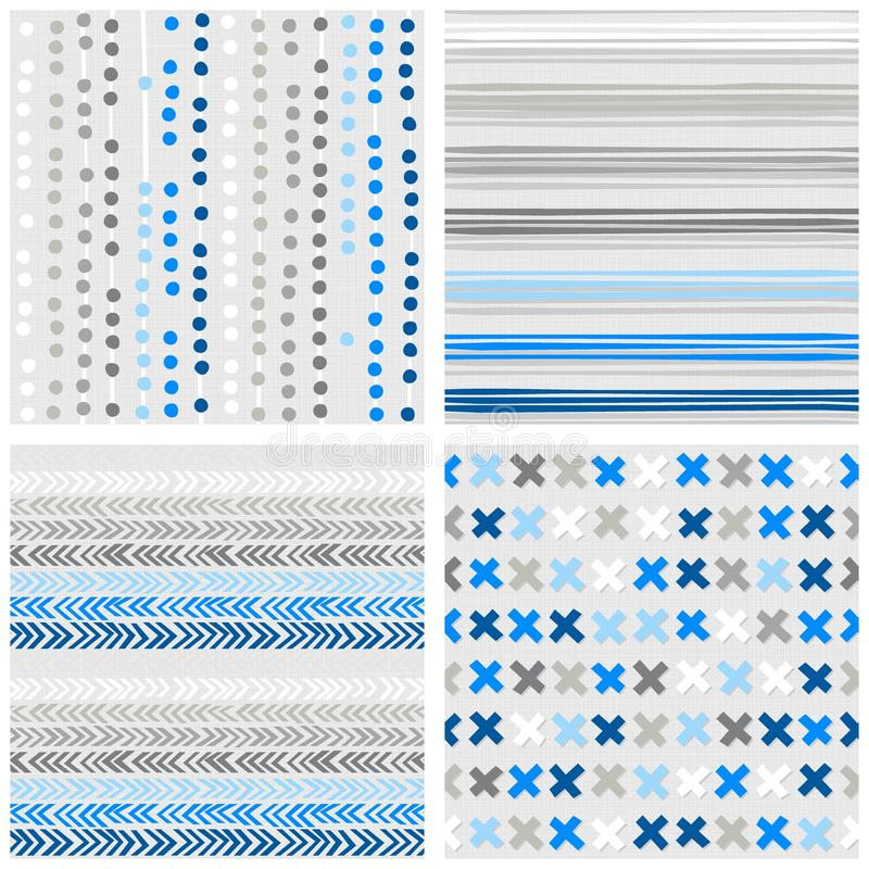 Dots stripes chevron and crosses blue seamless pattern set royalty free illustration