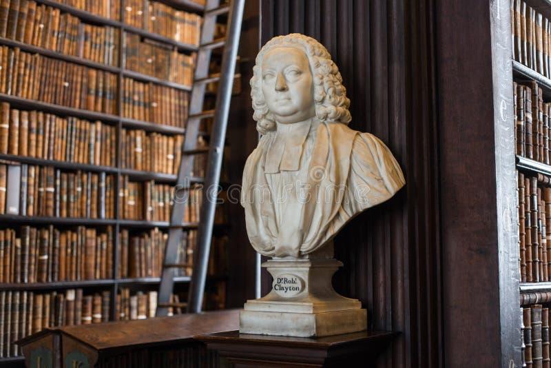 Dott. Busto di Clayton in Trinity College immagine stock