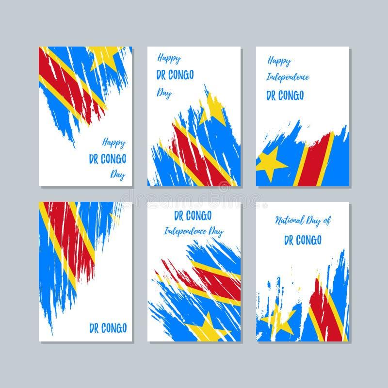 Dott Congo Patriotic Cards per la festa nazionale illustrazione di stock