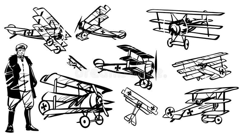 Dott. 1 triplano del fokker e del pilota illustrazione vettoriale
