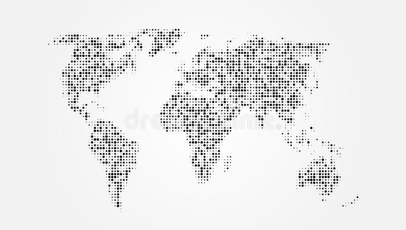 Dotted Abstract World Map With Shadow Template vector illustration