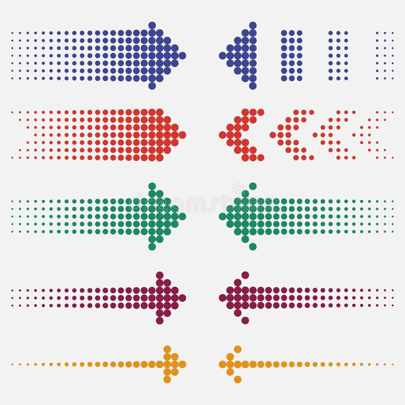Dotted arrows set. Dots pointers, colorful, halftone effect. Vector. stock illustration