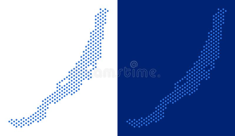 Dotted Baikal Lake Map. Dot Baikal Lake map. Vector geographic map on white and blue backgrounds. Vector composition of Baikal Lake map done of sphere dots stock illustration