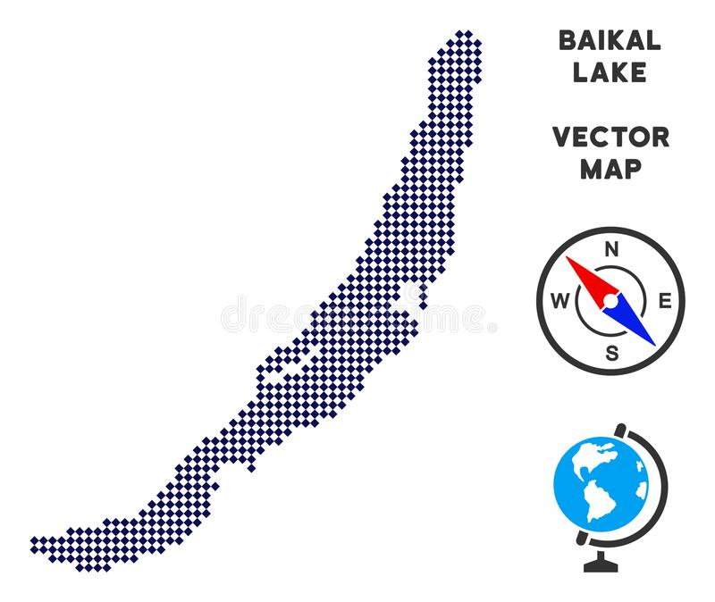 Dotted Baikal Lake Map. Abstract territorial plan. Points have rhombus shape and dark blue color. Vector pattern of Baikal Lake map organized of rhombus item stock illustration