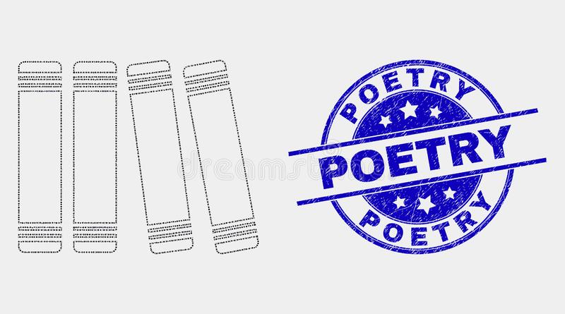 Vector Dotted Books Icon and Grunge Poetry Watermark. Dotted books mosaic icon and Poetry seal. Blue vector rounded distress seal with Poetry phrase. Vector royalty free illustration