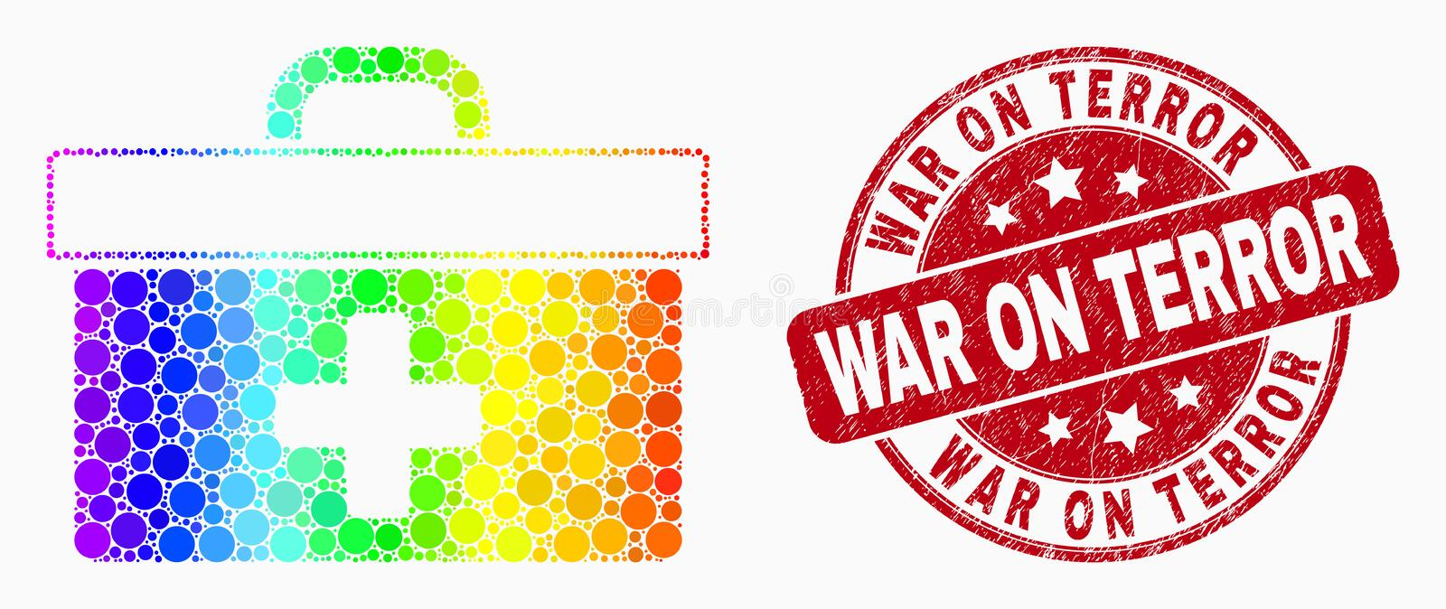 Vector Spectrum Pixelated Medical Case Icon and Scratched War on Terror Stamp. Dotted bright spectral medical case mosaic pictogram and War on Terror seal. Red stock illustration