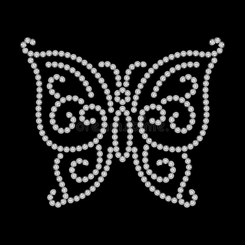 Dotted butterfly. Diamond pattern on black stock illustration