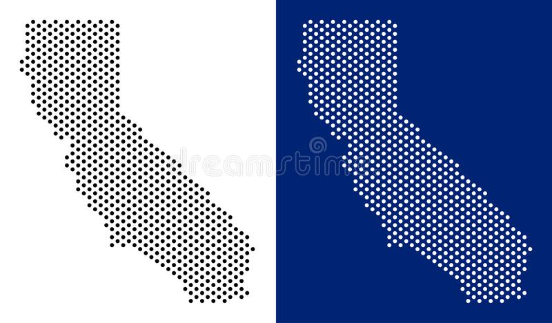 Dotted California Map. Vector geographic map on white and blue backgrounds. Vector mosaic of California map made with round spots vector illustration