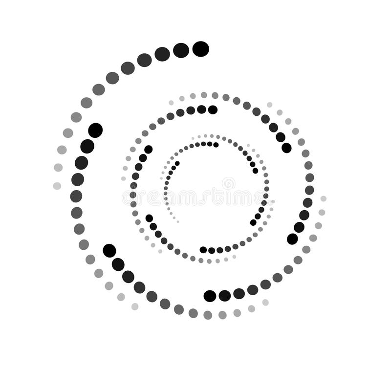 WHIRL DOTTED CIRCLE. HALFTONE DESIGN ELEMENTS. ISOLATED VECTOR ON WHITE BACKGROUND royalty free illustration