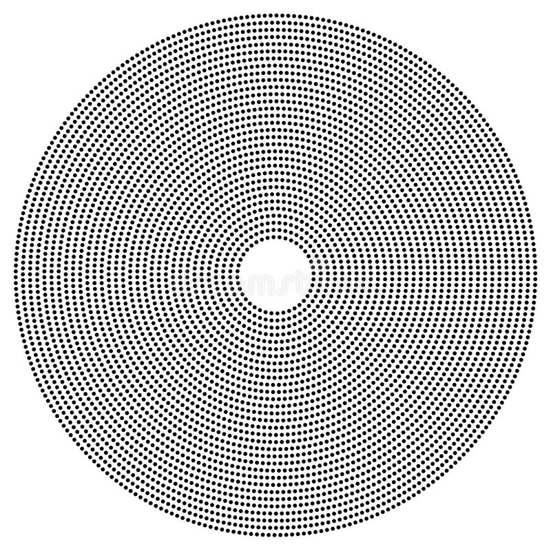 Dotted circular element. Mononochrome black and white illustration on white. Royalty free vector illustration royalty free illustration