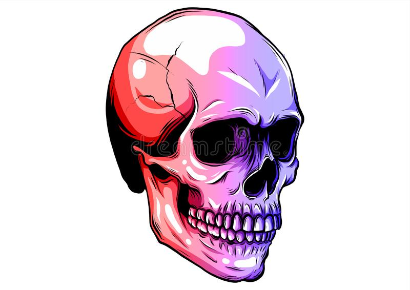 Dotted colorful halftone skull icon drawn with rainbow color variations with horizontal gradient on a black background. vector illustration