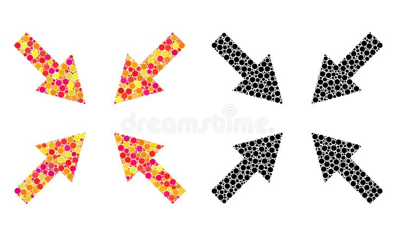 Dotted Compress Arrows Mosaic Icons. Vector compress arrows icons in colorful and black versions. Collages of different circle elements royalty free illustration