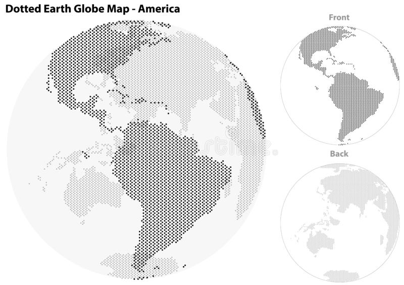 Dotted Earth Globe with Central View of America royalty free illustration