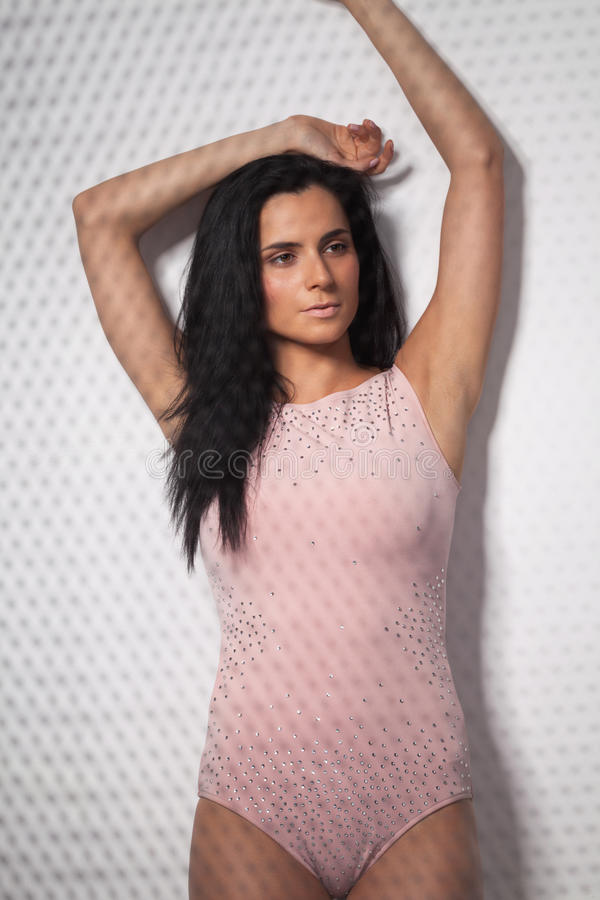 Dotted fashion. Fashion model caught in the act royalty free stock photography