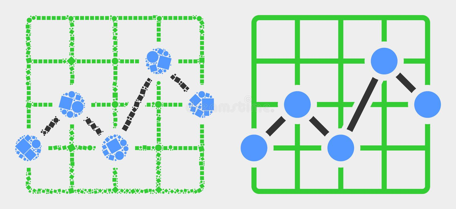 Dot and Flat Vector Chart Grid Icon. Dotted and flat chart grid icons. Vector mosaic of chart grid organized of scattered dots and spheric dots stock illustration