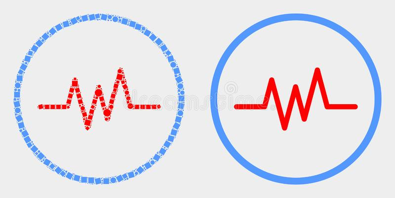 Dot and Flat Vector Pulse Signal Icon. Dotted and flat pulse signal icons. Vector mosaic of pulse signal formed of random dots and round pixels royalty free illustration