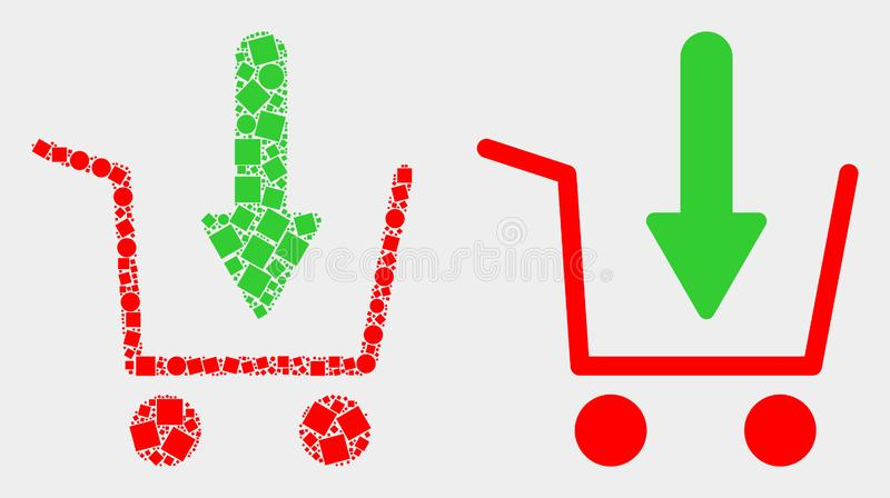 Pixelated and Flat Vector Put Shopping Item Icon stock illustration