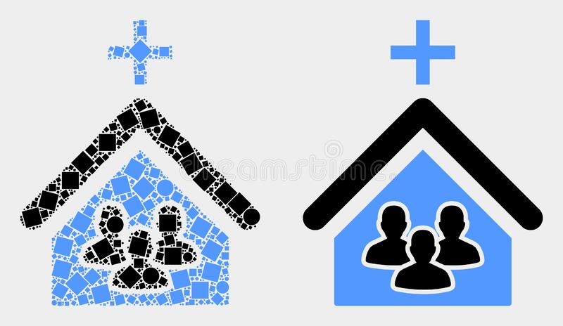 Dotted and Flat Vector Church People Icon. Pixel and flat church people icons. Vector mosaic of church people created of scattered rectangle elements and round stock illustration