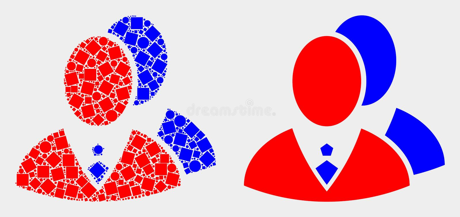 Dotted and Flat Vector Managers Icon. Pixel and flat managers icons. Vector mosaic of managers constructed of irregular square particles and spheric points stock illustration