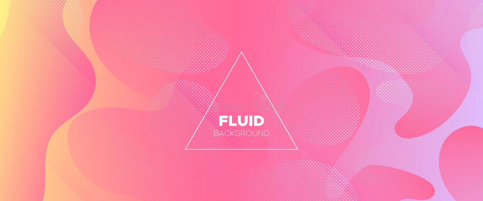 Dotted Flow Background. Rainbow Abstract Liquid. Trendy Dynamic Wallpaper. Vector Brochure. Fluid Background. Pink 3d Liquid Shape. Modern Geometric Poster stock illustration