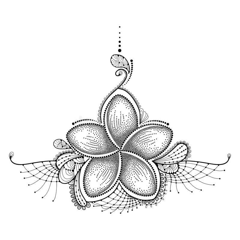 Dotted flower of Plumeria or Frangipani in black with decorative lace on white. Floral elements in dotwork for tattoo royalty free illustration