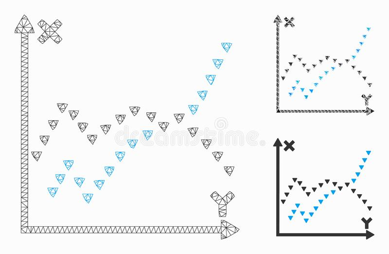 Dotted Functions Plot Vector Mesh Network Model and Triangle Mosaic Icon. Mesh dotted functions plot model with triangle mosaic icon. Wire carcass triangular stock illustration
