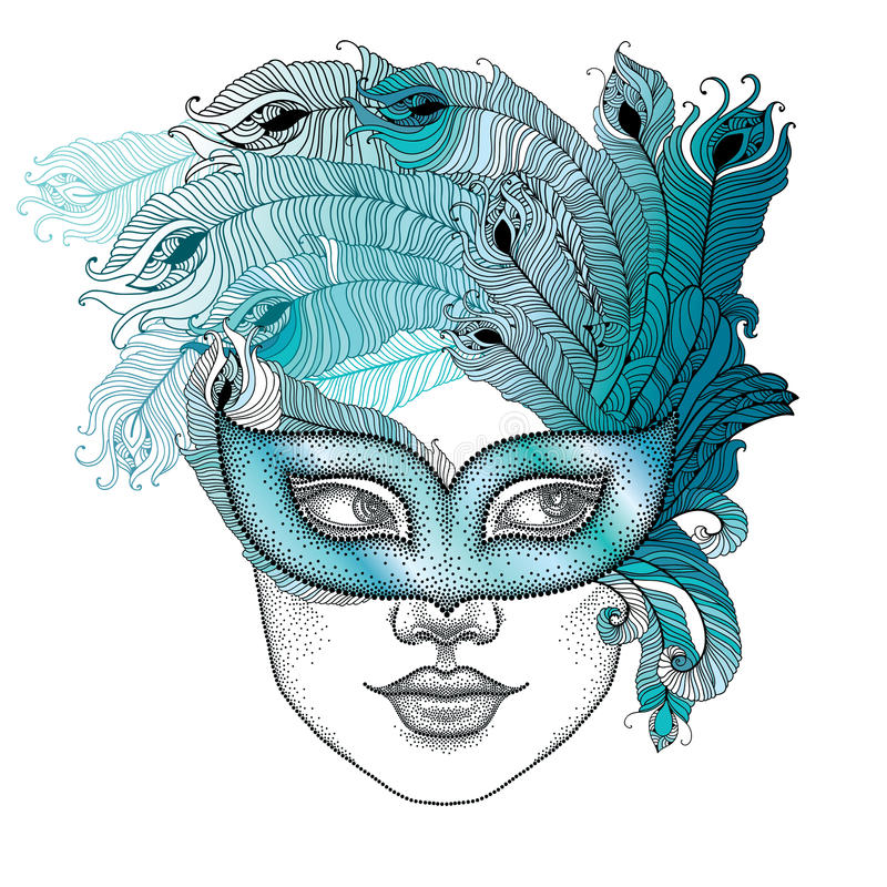 Dotted girl face in Venetian carnival mask Colombina with outline peacock feathers on white background. vector illustration