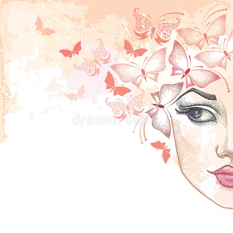 Dotted half beautiful woman face on the pastel blots background with butterflies in pink. Concept of spring and female beauty in dotwork style royalty free illustration