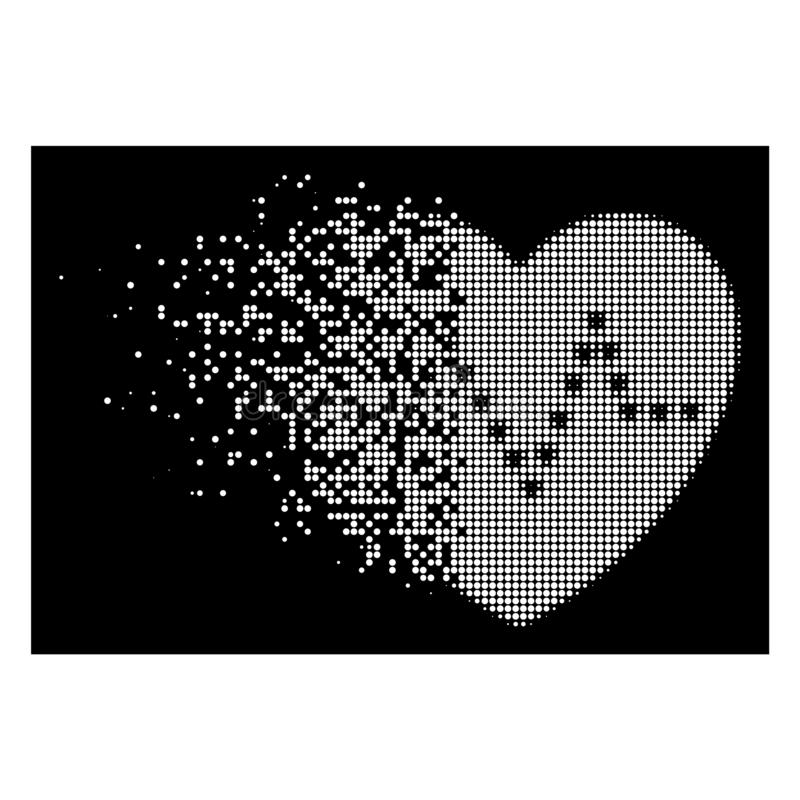 White Fractured Dotted Halftone Dotted Heart Pulse Icon vector illustration