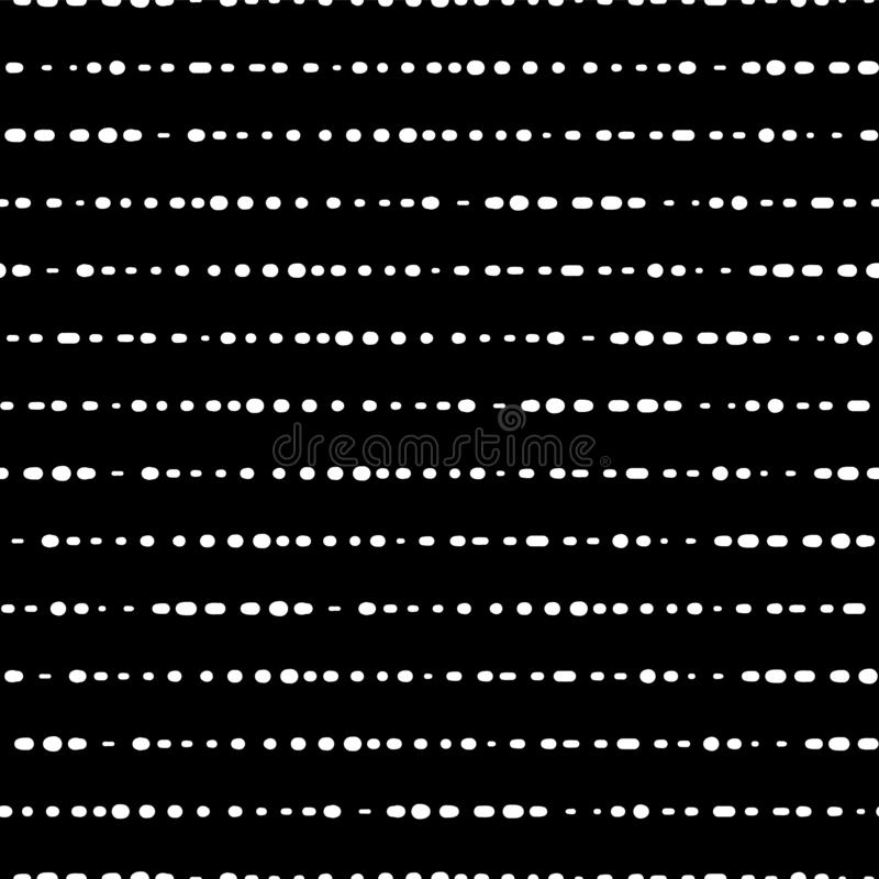 Dotted horizontal lines seamless vector background. White dots on black background. Monochrome abstract pattern design. Abstract royalty free illustration