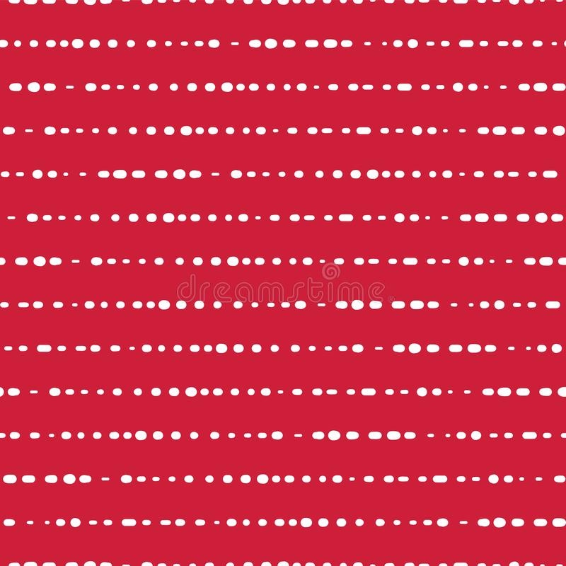 Dotted horizontal lines seamless vector background. White dots on red pink background. Abstract pattern design. Abstract geometric stock illustration