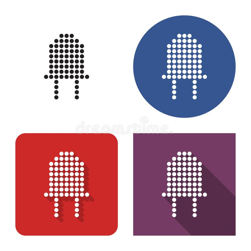 Dotted icon of diode in four variants. With short and long shadow royalty free illustration