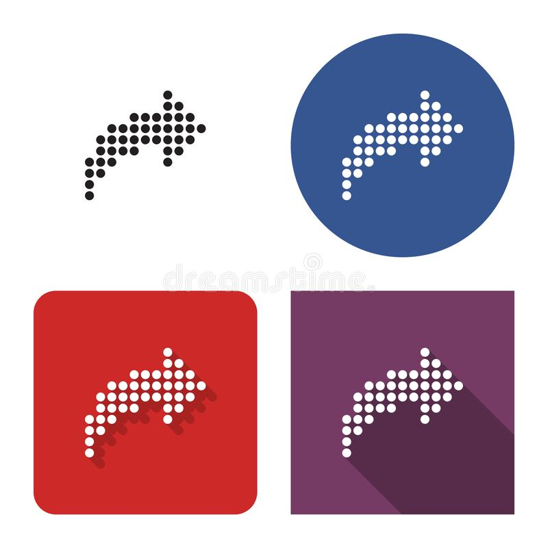 Free Dotted Icon Of Right Curved Arrow In Four Variants Royalty Free Stock Images - 153187059
