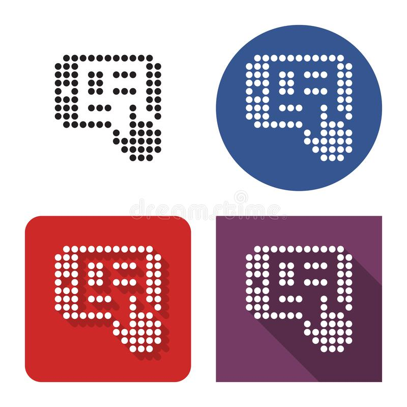 Dotted icon of tablet touch screen in four variants. With short and long shadow vector illustration