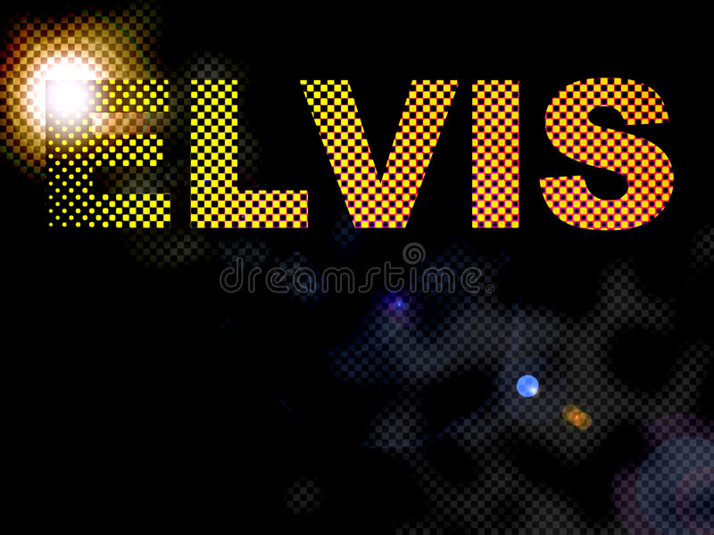 Dotted Lights Elvis Sign Text. Bright Yellow Dotted Lights Elvis Sign Text stock illustration