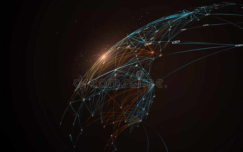 Dotted lines connected to the abstract graphics. Dotted lines connected to the abstract graphics, network connections stock illustration