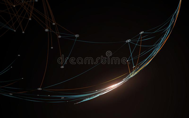 Dotted lines connected to the abstract graphics. Dotted lines connected to the abstract graphics, network connections royalty free illustration