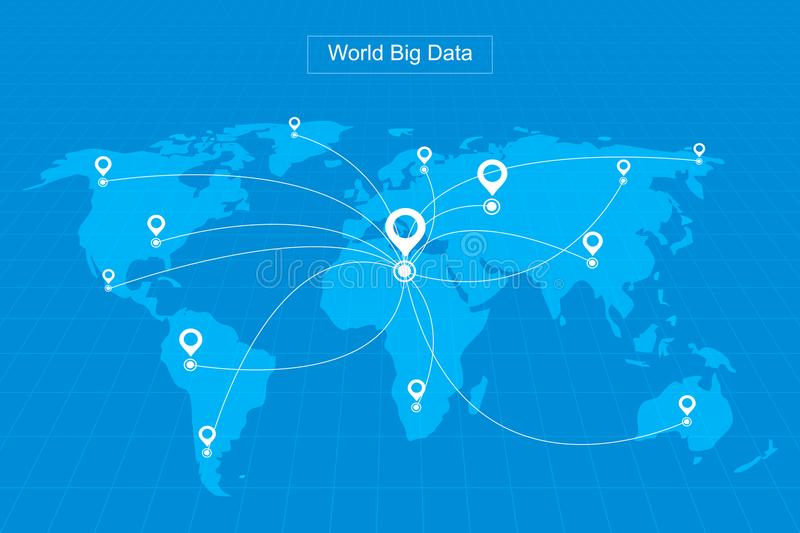Dotted lines constitute the world map gps positioning constitute dotted lines constitute the world map gps positioning constitute the worlds big data technology vector background meaning globalization gumiabroncs Gallery