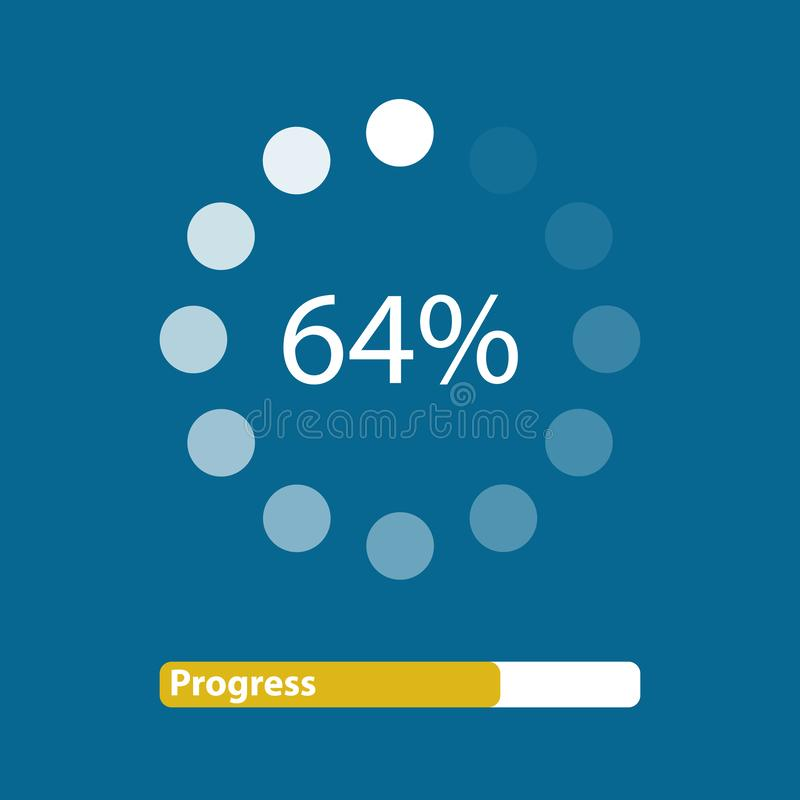 Dotted Loading In Progress Bar - Vector Illustration - Isolated On Blue Background royalty free illustration