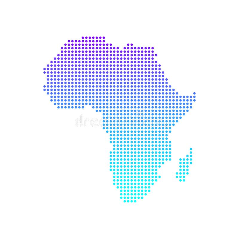 Dotted Map of the African continent. Vector illustration.  vector illustration